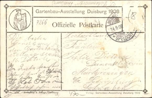 Ansichtskarte postkarte duisburg im ruhrgebiet - Gartenbau friedrich ...