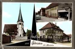 Postcard Göbrichen Neulingen, Bäckerei von Kunzmann, Kirche