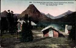 Ak Montana USA, Two Medicine Lake and Camp, Glacier National Park, mountains