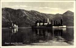 Postcard Perast Montenegro, Otoci kod Perasta, Blick auf eine Insel mit Kirche