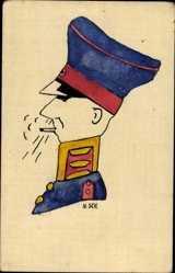 Handgemalt Ak Soldat, Profil, Zigarette rauchend, Uniform, Schirmmütze