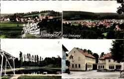 Postcard Sonnefeld am Thüringer Wald Oberfranken, Straßenpartie, Schwimmbad