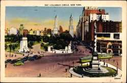 Postcard New York City USA, Columbus Circle, Kreisverkehr, Statue