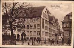Postcard Zweibrücken in Rheinland Pfalz, Straßenpartie mit Blick auf die Ludwigschule