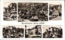 Postcard Heidenheim, Stadtansichten, Rathaus, Schloss, Burg, Wald