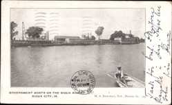 Postcard Sioux City Iowa USA, Government Boats on the Sioux River