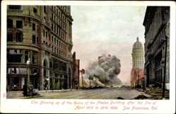Postcard San Francisco Kalifornien USA, Blowing up of the Ruins, Phelan Bdg,April 1906