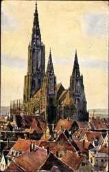 Künstler Ak Marschall, J., Ulm an der Donau, Blick auf das Münster