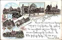 Litho Augsburg in Schwaben, Stadtgarten, Konzerthalle, Hauptrestaurant