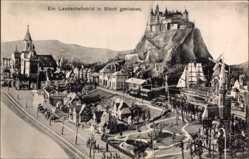 Ak Ein Landschaftsbild in Blech getrieben, Stadt mit Burg