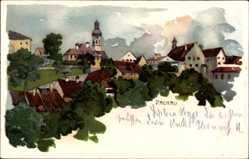 Künstler Litho Graf, Dachau in Oberbayern, Blick auf den Ort und die Kirche