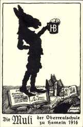 Studentika Ak Hameln in Niedersachsen, Die Muli der Oberrealschule 1916, Bier