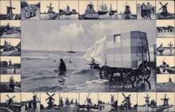 Passepartout Ak Zandvoort Nordholland, In het bad, Badestrand, Umkleidewagen