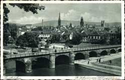 Postcard Saarbrücken im Saarland, St. Johann vom Schlossgarten aus, Brücke