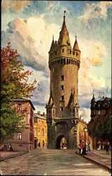 Künstler Ak Frankfurt am Main, Straßenpartie mit Blick auf Torturm