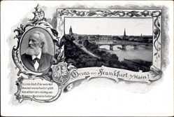 Wappen Passepartout Ak Frankfurt am Main, Friedrich Stoltze, Brücke