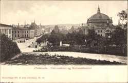 Postcard Oslo Norwegen, Universitetet og Nationaltheatret, Universität, Theater