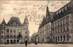Postcard Hansestadt Bremen, Domshaide mit Gustav Adolf Denkmal, Gerichtsgebäude