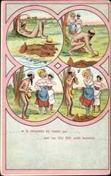 Ansichtskarte / Postkarte Et le Chapeaux ne tombe pas, Nackter Mann, Sonnenbad, Frauen, Hut