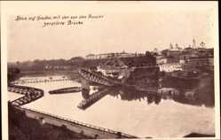 Postcard Hrodna Grodno Weißrussland, Blick auf den Ort mit der zerstörten Brücke