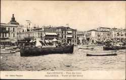 Postcard Saloniki Griechenland, Vue du Quai, Blick in den Hafen, Häuser