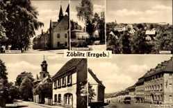 Postcard Zöblitz Marienberg im Erzgebirge Sachsen, Am Marktplatz, Schulstraße