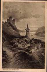 Künstler Ak Astudin, Wellmich St. Goarshausen im Rhein Lahn Kreis, Burg Maus