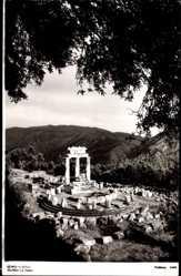 Postcard Delphi Griechenland, Blick auf die Tholos, Ruinen, Säulen, Berge