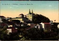 Postcard Cintra Sintra Portugal, Palacio D. Maria Pia, Blick auf den Ort und Palast