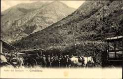 Postcard Salto del Soldado Chile, Cordillera, Pferde, Berge, Chilenen