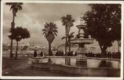 Postcard Lisboa Lissabon Portugal, Brunnen, Palmen, Blick auf den Ort