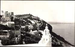 Postcard Santorin Thira Griechenland, Firostefani, Gebäude, Meer, Berg, Ort