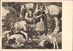 Künstler Ak Junghanns, Jul. P., Bei der Hirtin, HDK 509, Kuh, Pferd, Ziege