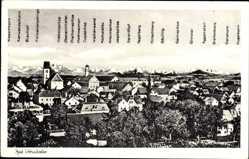Postcard Bad Wörishofen im Unterallgäu, Gesamtansicht des Ortes mit Gebirge