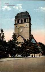 Ak Szczecin Stettin Pommern, Straßenpartie mit Blick auf die Garnisonkirche