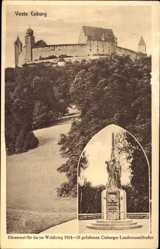 Postcard Coburg, Blick auf die Veste, Burgwall, Ehrenmal, Wald