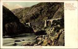 Postcard Argentinien, Puente de Cacheuta, Eisenbahnviadukt