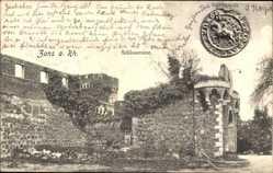 Postcard Zons Dormagen Niederrhein, Teilansicht der Schlossruine