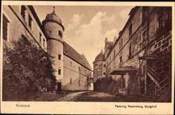 Postcard Kronach, Blick auf die Festung Rosenberg, Burghof, Turm, Treppe