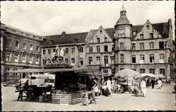 Postcard Düsseldorf am Rhein, Blick auf den Marktplatz und das alte Rathaus