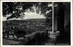 Postcard Bad Dürkheim am Pfälzerwald, Partie am Schäferpavillon mit Blick auf den Ort