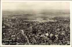 Postcard Worms in Rheinland Pfalz, Blick auf den Ort, Fliegeraufnahme