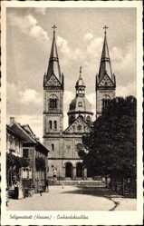 Postcard Seligenstadt Hessen, Partie an der Einheitsbasilika, Fassade