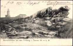 Postcard Schmitten im Hochtaunuskreis Hessen, Großer Feldberg, Brunhildfelsen, Turm