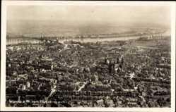Postcard Worms in Rheinland Pfalz, Fliegeraufnahme der Stadt, Kirche, Rheinbrücke