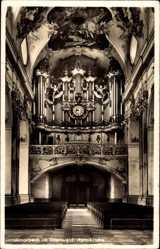 Postcard Amorbach im Odenwald, Inneres der Abteikirche mit Orgel