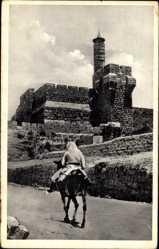 Postcard Jerusalem Israel, The Tower of King David, Turm, Reiter