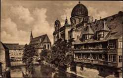 Postcard Nürnberg in Mittelfranken Bayern, Insel Schüttpartie, Synagoge