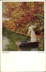 Künstler Ak Cucuel, Ed., Herbstufer, Frau in einem Boot stehen, Herbstlaub