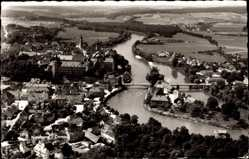 Postcard Neuburg an der Donau Oberbayern, Fliegeraufnahme, Fluss